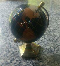 "World Globe Inlaid small Brass Stand Desk Top 6"" Rotates."