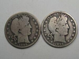 2 Better-date Barber Half Dollars. 1895-o & 1899-o. #53
