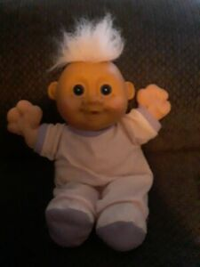 "Russ Plush Soft Body Baby Boy Troll 12"" Blue Eyes Hair Clothes Vintage"