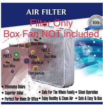 """12 Box Fan Filters for 20"""" Box Fans w/ Fasteners, for 1 year *Fan NOT Included*"""