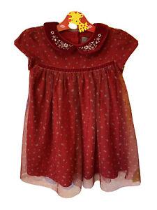 Next Christmas Red Flower Net Velvet Baby Girl Dress 9-12 Months