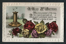 C1920s 21st Birthday Card: Sun Dial & Roses: Sweet Contentment