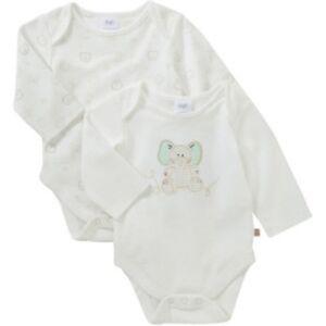 BNWT, X2 Pk, LS, Bodysuits, Baby, Sz 00, 3-6 Month, Cream, Elephant, 100% Cotton