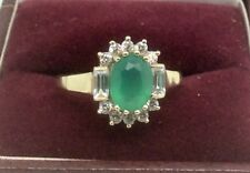 9ct Gold ring set with Green & White Cubic Zirconia stones size O1/2