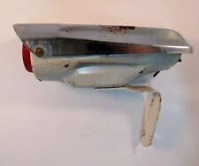 Vintage Bike Space Ship Light White & Chrome Metal  With Red Lens