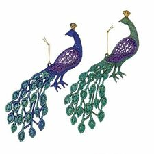 Acrylic Peacock Christmas Ornaments, Purple/Aqua, 4-1/2-Inch, 2-Piece