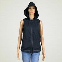 Fabletics Hooded Zip Up Windbreaker Kennedy Vest Jacket SMALL Black Nylon Mesh