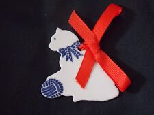 Vintage Porcelain Blue & White Cat With Ball Christmas Ornament
