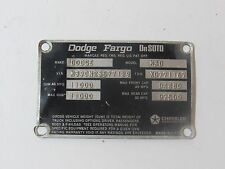 DODGE FARGO DeSoto POWER WAGON TRUCKS 1972 1973 DATA PLATE M601 ID TAG WW2 ARMY