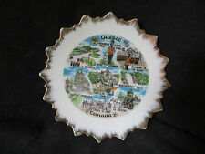 "Vintage 6"" QUEBEC Canada Souvenir Plate Scalloped Gold Edging with hanger"