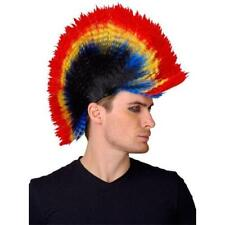80s Punk Mohican Multicoloured Wig Mens Ladies Fancy Dress Costume 70s Accessory