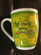 Ace Tennis Fanatic Green Porcelain Coffee Cup Mug H and H History and Heraldry