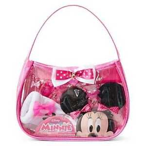 Disney Minnie Mouse 8 pC accessory set Gloves, Bag Hair clips Jewelry EASTER