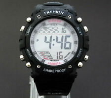 Men Boys Sports Digital Watch Alarm Date Day Watchlight Stopwatch Plastic Black