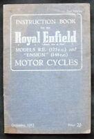 ROYAL ENFIELD 1953 MODELS R.E. 125C.C & ENSIGN 148C.C M/C HANDBOOK #337/5M/1253