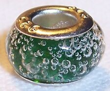 Small Green Bubbles Murano Glass Bead Gift fits Silver European Charm Bracelets