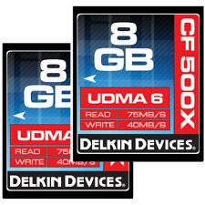 Delkin 16GB (8GB X 2) CF Memory Card 500X UDMA 6   ->Lifetime Warranty