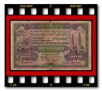 EGYPT NATIONAL BANK 100 POUNDS 1.2.1943 P-17d RARE BANKNOTE SIGN. NIXON