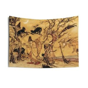 Black Cats & Witches, Indoor Wall Tapestry, Halloween, Arthur Rackham, 1920
