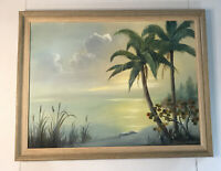 """Tropical Palm Tree Landscape Oil Canvas Painting Signed Framed 24x18"""""""