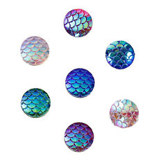 20 Mermaid Dragon Scales Mixed Colour Resin Cabochons Flat Back 12mm (072)
