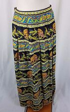 Vintage Asian Inspired Koi Fish Print Pleated Long Maxi Skirt Womens S Jupe-Fix