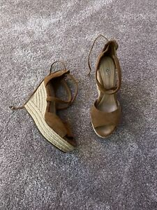 Ladies size 6 Tan Suede strappy high wedge sandals UGG