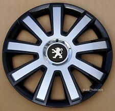 "Black/Silver  14"" wheel trims, Hub Caps, Covers to Peugeot 107 (Quantity 4)"