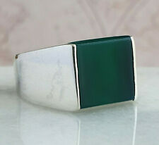 Turkish Ottoman Green Agate Gemstone 925 Sterling Silver Mens Ring Gemstone