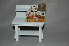 New Miniature White Garden Bench with Basket of Garden Tools Display