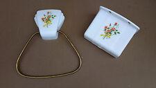 Porte serviette dévidoir papier WC POLA vintage fleurs salle de bain toilette