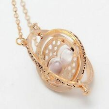 Harry Potter Hermione Granger Rotating Time Turner Necklace Gold Hourglass HOT