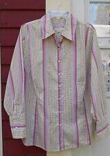 "MERONA Pink Striped Long Sleeved Button Down Cotton Blend Shirt 24W (54"") EUC"