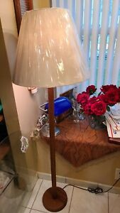 Walnut Wood Floor LampFloor Lamp, with Lampshade pick up only new jersey
