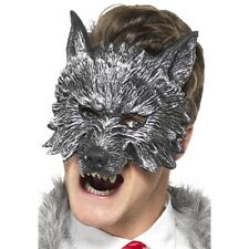 Deluxe Big Bad Wolf mask Mens Ladies Halloween Fancy Dress Accessory Grey