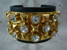 "JUICY COUTURE CRYSTAL & GOLD PYRAMID STUDDED BLACK LEATHER 6 1/2"" CUFF BRACELET"
