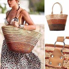 Summer Women Girl Trendy Straw Beach Large Tote Shoulder Bag Brown Handbag Bags