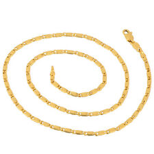 Embossed Womens Chain Necklace,17.7 Inch Skillful 18K Yellow Gold Filled