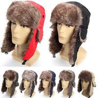 Thick Men Winter Trapper Trooper Earflap Warm Russian Ski Hat Fur Bomber