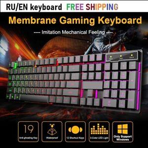Wired Gaming Keyboard USB 104 Keys Mechanical Feeling Backlit Keyboards Russian