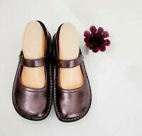 ALEGRIA Womens BELLE Crinkle Metallic Leather Mary Jane Clog Shoes BEL-207 EU 37