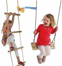 Set Wooden and Rope Garden Swing & Rope Ladder Toy Child Outdoor Safety Play