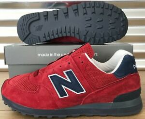 New Balance 574 Classic Suede Shoe Red Navy Blue White USA Men 7 8 8.5 9.5 10 11