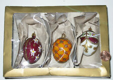 SET OF 3 FABERGE EGG GLASS CHRISTMAS ORNAMENTS MADE IN GERMANY -FORTUNOFF - LNIB