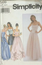 80s Simplicity Sewing Pattern Bodice Top & Full Gathered Prom Dress Size 6-8-10