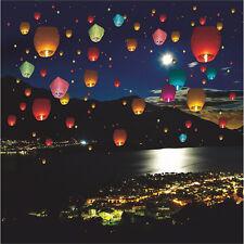 5pcs Colorful Chinese Lantern Sky Lanterns Hot Air Lanterns Flying Wishing Lamp