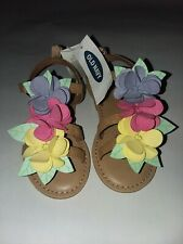 Old Navy Beige Sandals 3D Flowers Pink Yellow Blue Toddler Girls Sz 7 Nwt