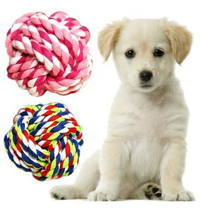 1Pcs Funny Durable Cotton Braided Colorful Rope Ball Puppy Dog Pet Chew Toys S/M