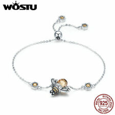 Wostu Vintage Style Bee Charm Bracele 925 Sterling Silver Brown Crystal Glass