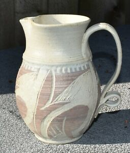 """Earth Color Art Pottery Pitcher Etched Pattern Matte Finish with Glaze Inside 7"""""""